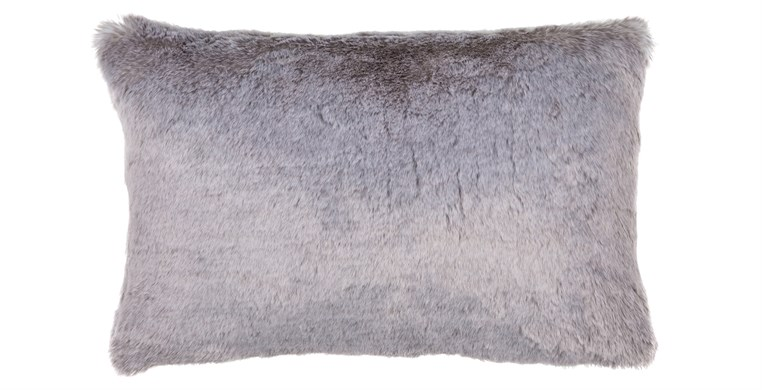 Silver Faux Fur Cushion